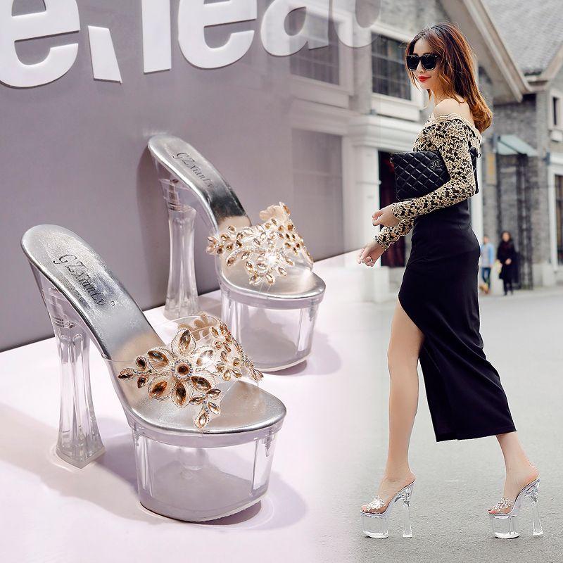 18cm Luxus Gold Kristall Blume Plattform ultra High Heels Sandalen Braut Designer Schuhe Größe 34 bis 39