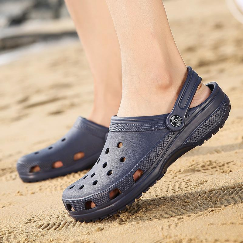 c97aa7988197 Size 46 Men Beach Sandals Summer Slippers Unisex Shoes Croc Fashion Casual  Flat Slip On Flip Flops Man Hollow Water Shoes Summer Sandals Men Sandals  From ...