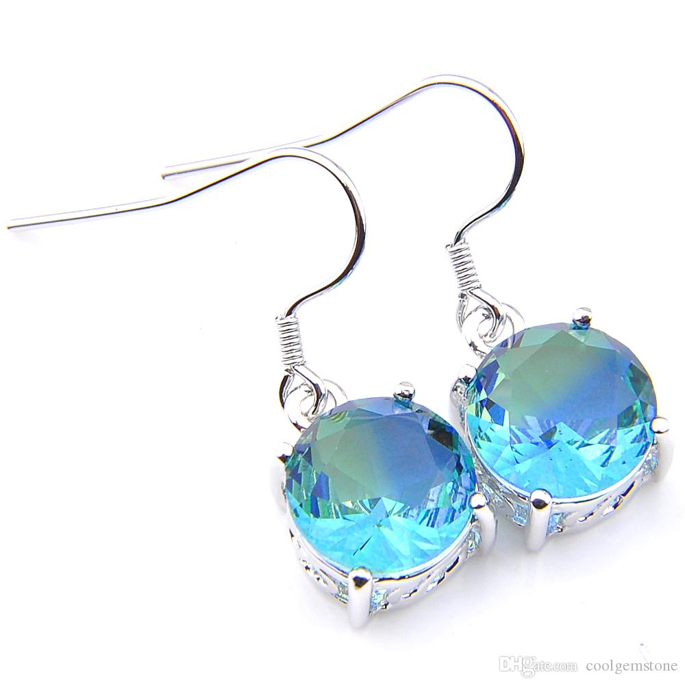 Luckyshine Christmas Day 6 pieces/lot 925 silver plated Unique charm Bi-Color Tourmaline Earrings for Lady party gift