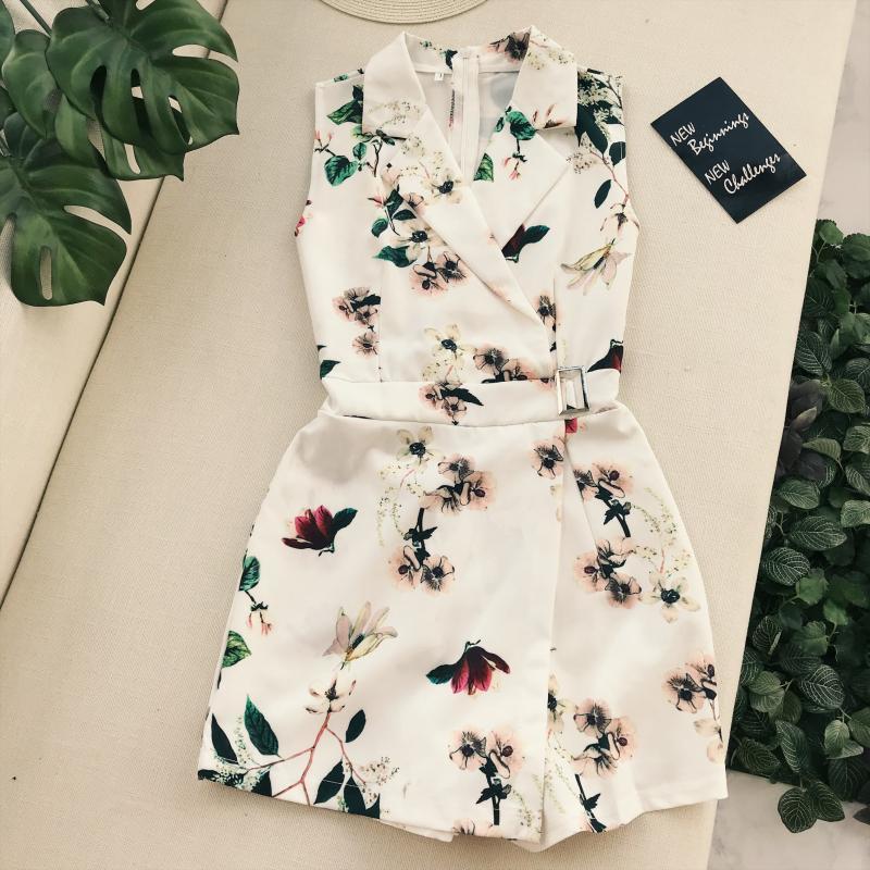 c9697fcb18 2019 Amolapha Women Vintage Flora Printed Turn Down Collar Playsuits ...