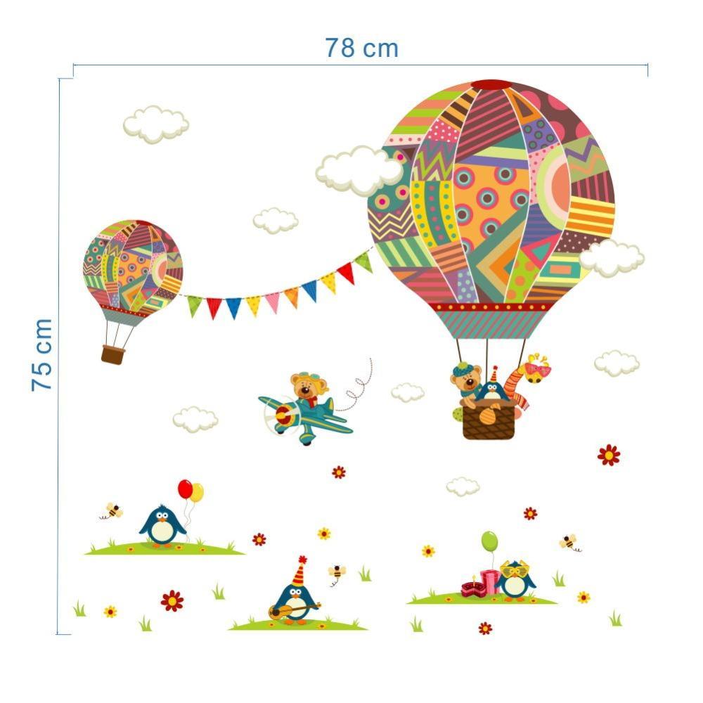 Cartoon Flugzeug Bär Heißluftballons Pinguin Abnehmbare wandaufkleber Kindergarten Aufkleber Für Kinderzimmer Dekoration Wandbild