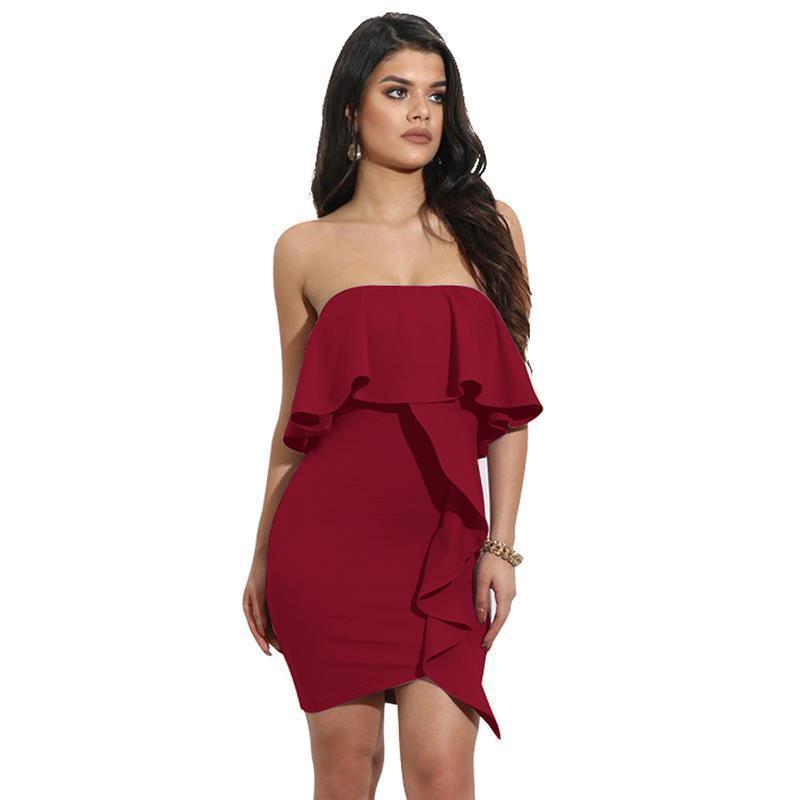 d041d22549 2019 New Summer Women Dress Style Off Shoulder Sexy Dresses Solid Tube  Party Club Ladies Dress Vestidos LJ9558Y Cheap Dresses Online Yellow Dresses  From ...
