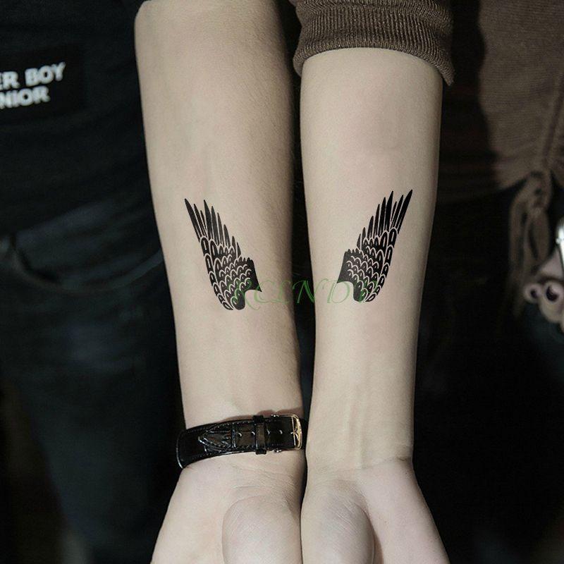 Waterproof Temporary Tattoo Sticker Black Wing Tatoo Water Transfer ...