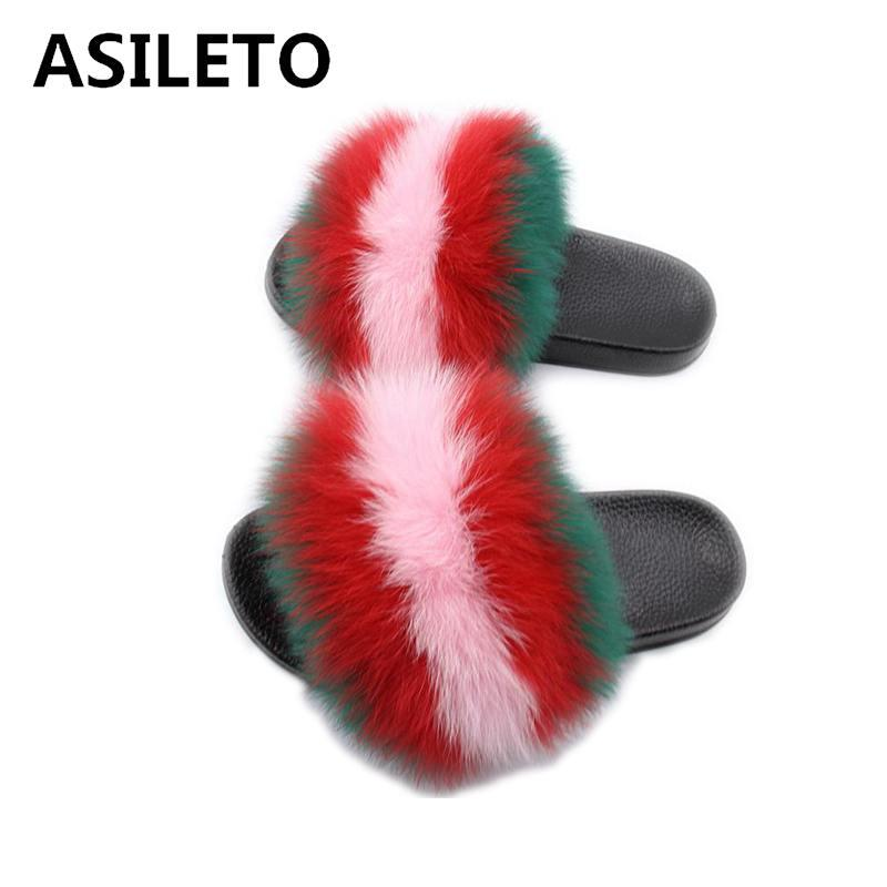 84c73a5b ASILETO Summer Women Fox Fur Slippers Real Fox Hair Slides Female Furry  Indoor Flip Flops Casual Beach Sandals Fluffy Shoes T598 Hiking Boots Knee  High ...