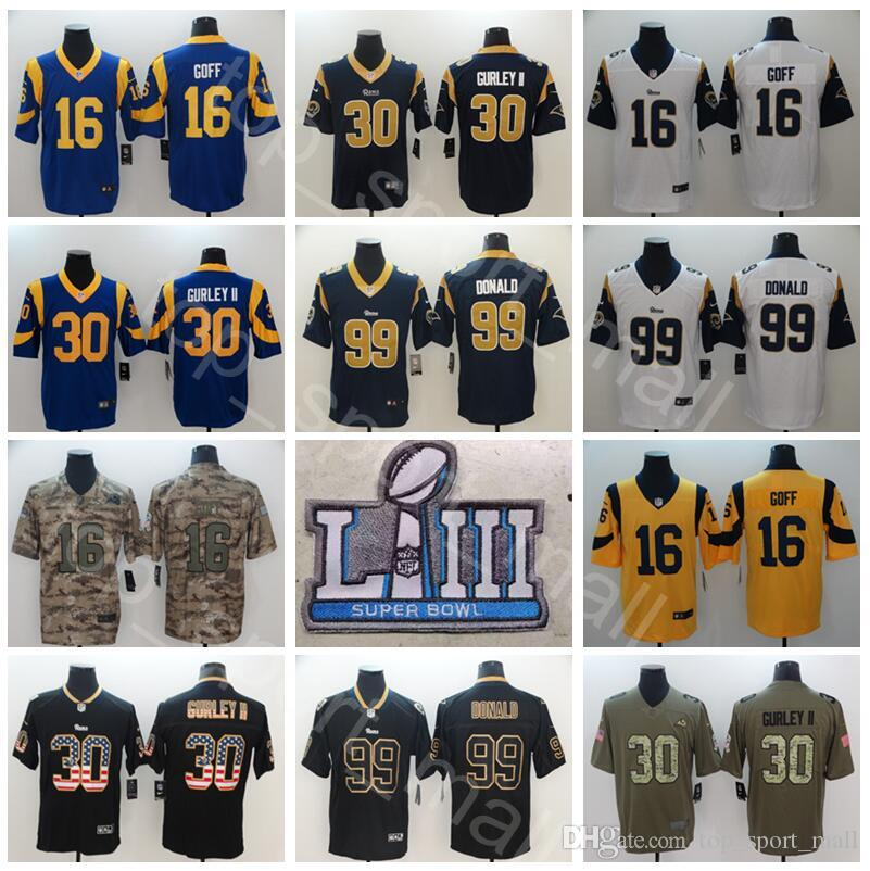 ea12f9a454c 2019 Man Super Bowl Los Angeles Rams Football 30 Todd Gurley Jersey II 16  Jared Goff Aaron Donald Vapor Untouchable Limited Yellow Blue White From  Vip_sport ...