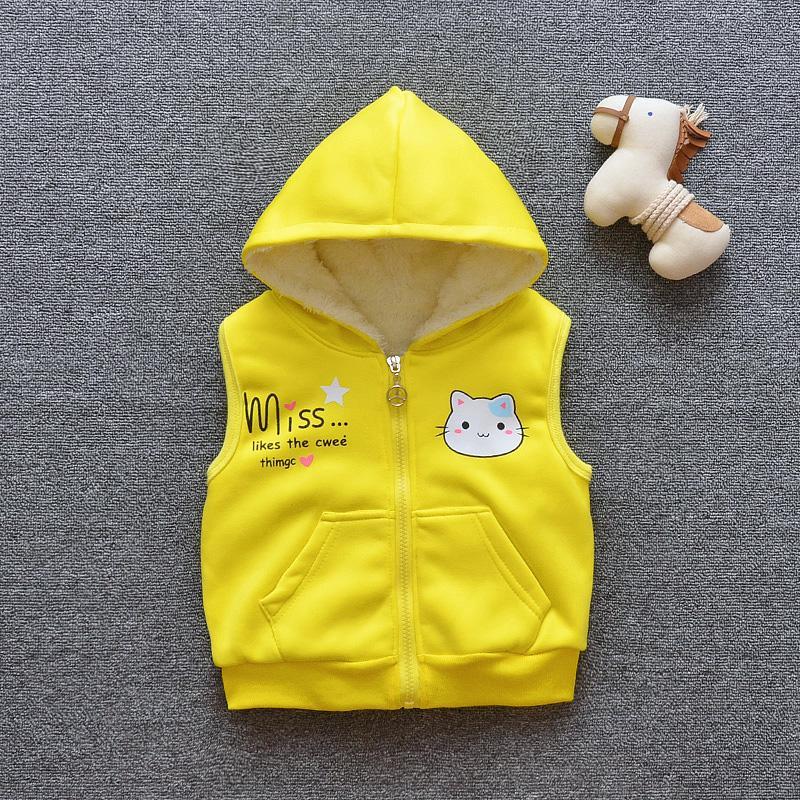 d9416639cd88 New Hooded Baby Girls Plus Velvet Thicken Vest Baby Children ...