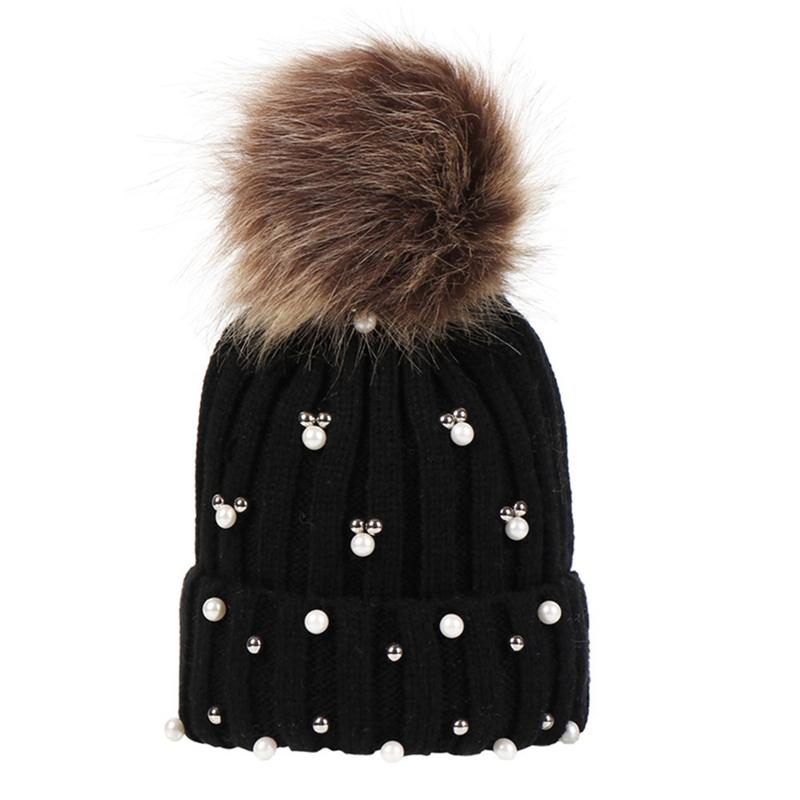 Wool Hats For Women Hat Knitted Beanies Cap  New Thick Pearls Decoration Female Cap Warm Festival Gift Hat
