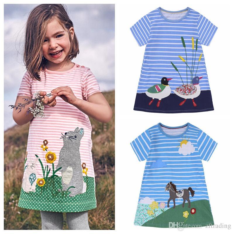 30b35d276 16 estilos Chica bebé ropa para niños falda de manga corta princesa  vestidos de verano niñas punto de rayas de dibujos animados vestido de  animal ...