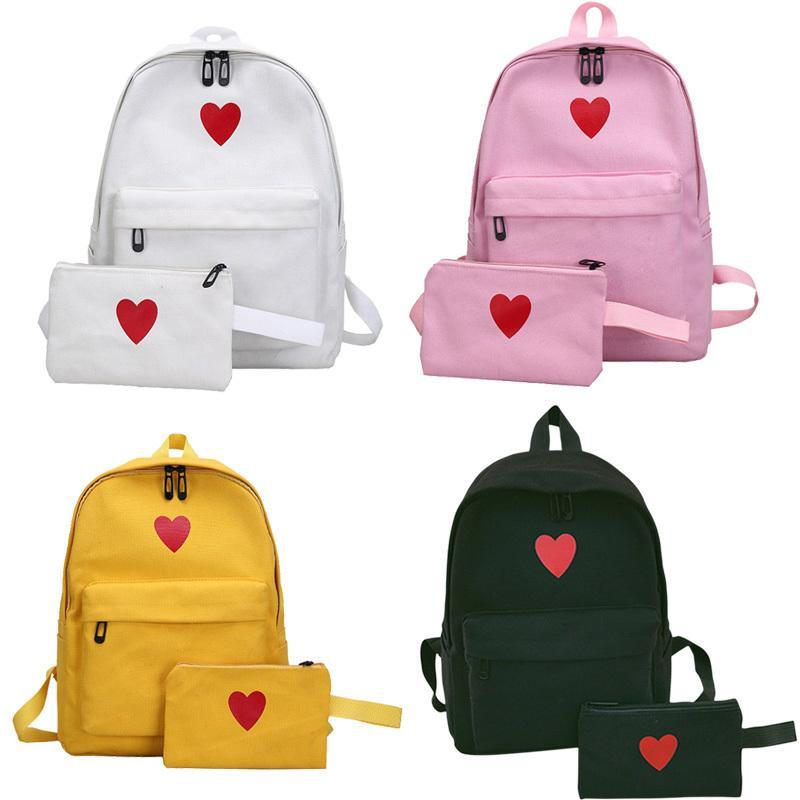 6cda38686973 2 Pcs/set Hot Sale Women Love Heart Printed Canvas Backpack Lady Travel Bag  Students Pencil Case School Shoulder Bags good quality