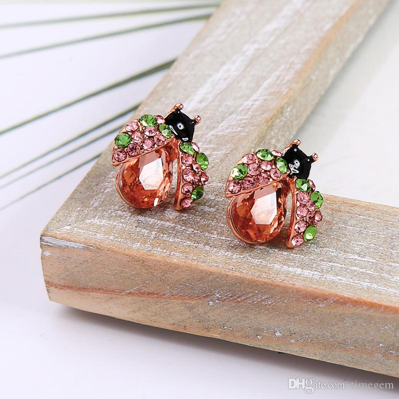 2019 Summer New Style 925 Silver Needle Personality Cute Dainty Simplicity Crystal Bee Stud Earrings E5756