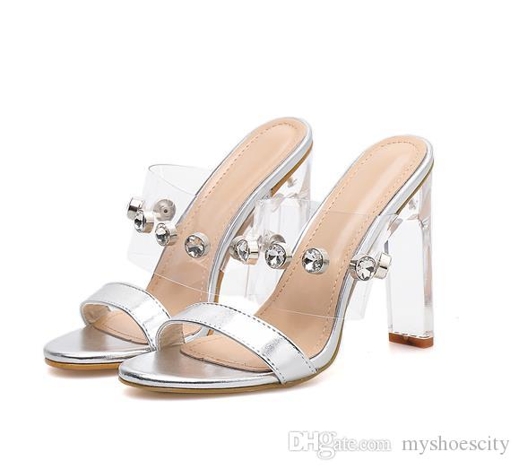 New bride wedding shoes luxury sandal white clear heels designer slipper slides size 35 to 40