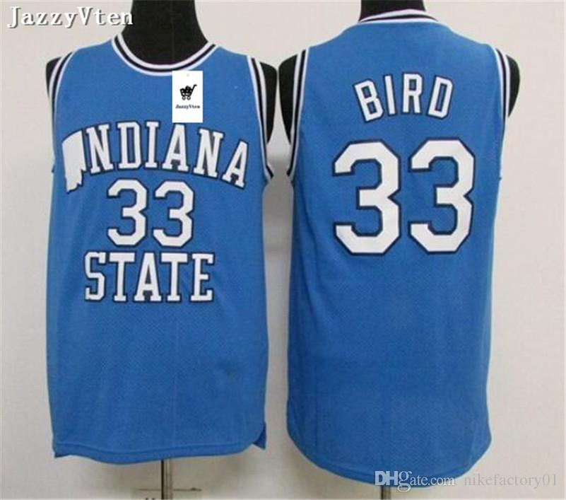 new arrival 58243 750cc Mens retro Larry Bird Jersey #33 Spring Valley High School Basketball  Jerseys Indiana State college Sycamores Larry Bird Stitched Shirts