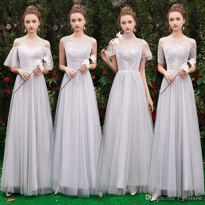 8adea2bf92 Grey Bridesmaids Dresses Long 2019 Sheer Neck Appliques Lace Maid Of Honor  Country Wedding Guest Gowns Formal Dress Cheap Bridesmaid Dresses China ...