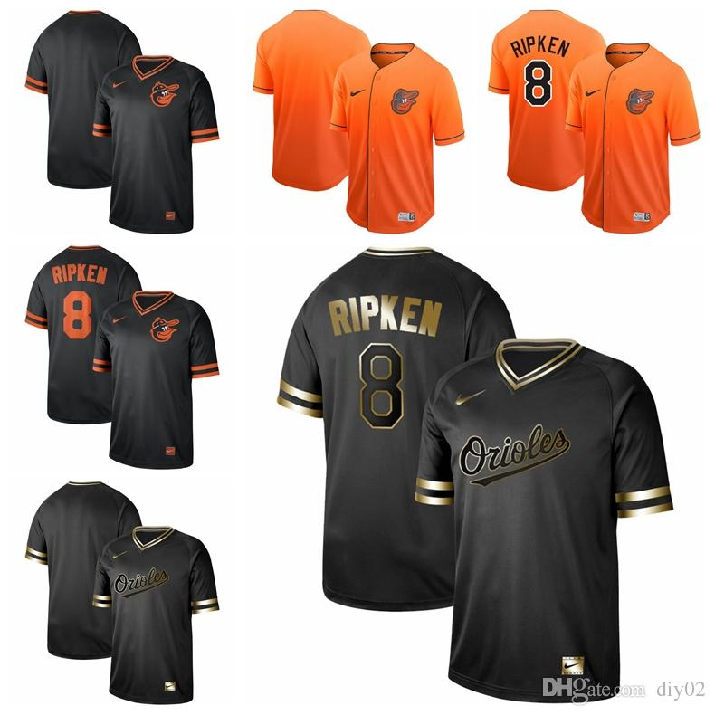 new product be8b8 4cebd Mens Baltimore 8 Cal Ripken Jr. Black Gold 100% Stitched Orioles Baseball  Jerseys Cheap Fast Shipping Custom chat with me