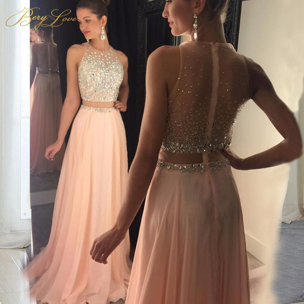 0865ac7f06df0 Fashion Blush Pink Prom Dress 2019 Crystal Beaded Top Tulle Elegant Long  Prom Gown Show Waist Sweep Train Plus Size Cheap Dress Y19042701