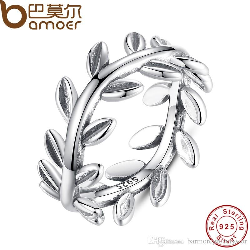 893c40b0d 2019 BAMOER New Collection Authentic Laurel Wreath Laurel Leaves Ring 100%  Fine 925 Sterling Silver Jewelry PA7156 From Barmoregrocerystor, $9.74 |  DHgate.