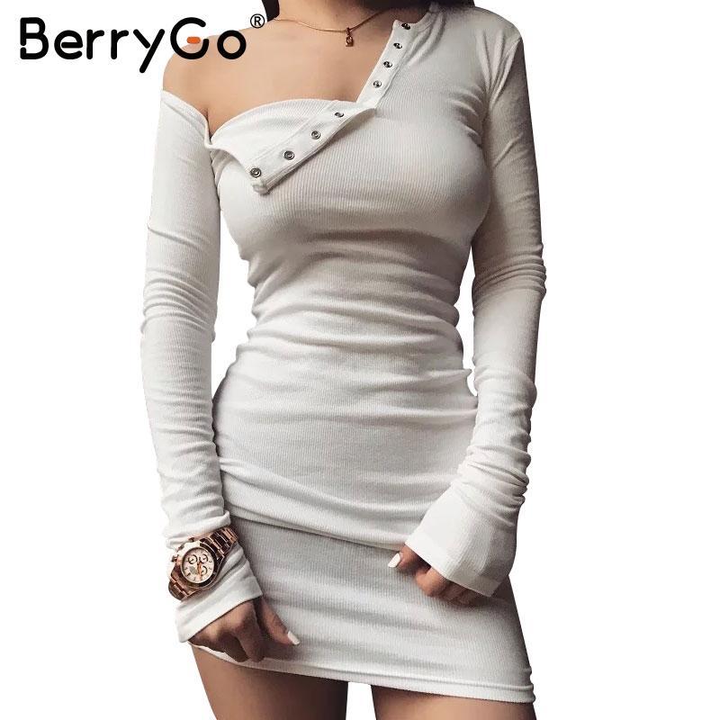 4b7fb96de9753 BerryGo Elegant one shoulder bodycon dress Slim long sleeve evening party  club white dress Women autumn winter black sexy