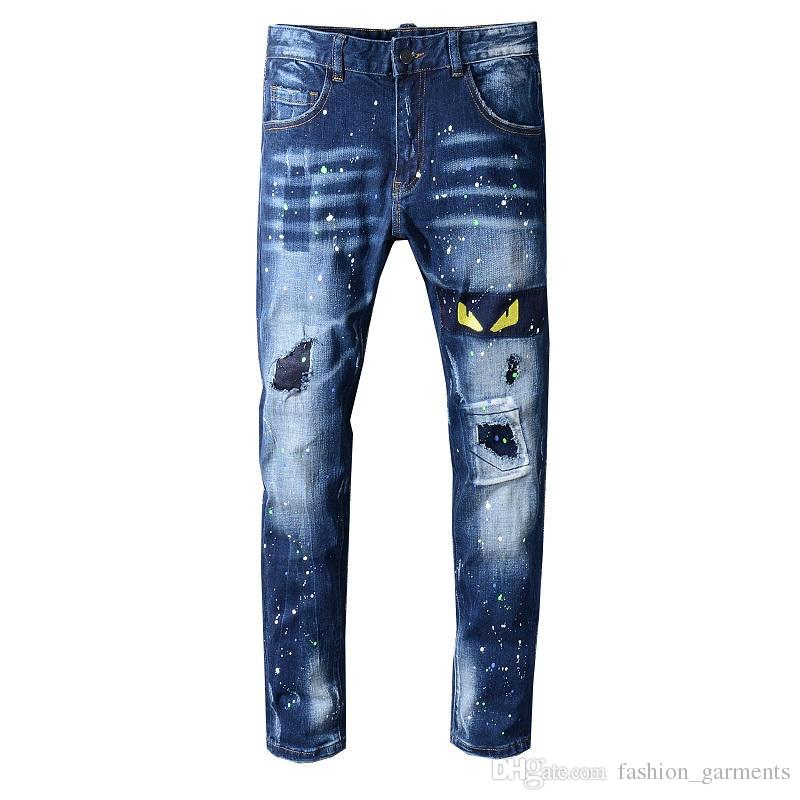 Fashion Mens Distressed Ripped Biker Jeans Casual Trousers Slim Fit Motorcycle Biker Denim Fashion Designer Pants Hip Hop Mens Jeans