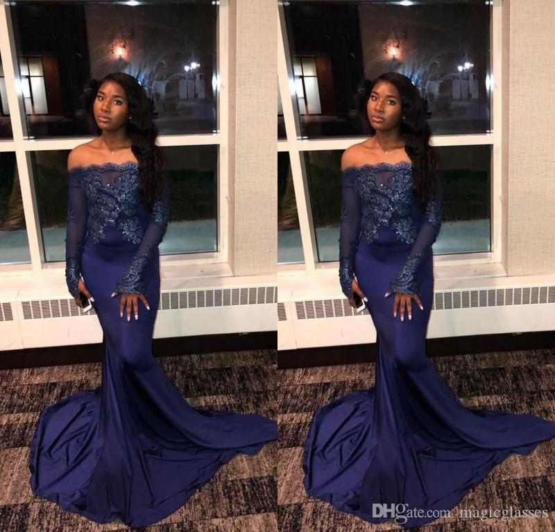 7866e0b75c Navy Blue 2019 New Mermaid Prom Dresses Off Shoulder Long Sleeves Beads  Lace Applique Formal Evening Prom Dress Robes De Bal Vestidos Ball Gown  Prom Dresses ...