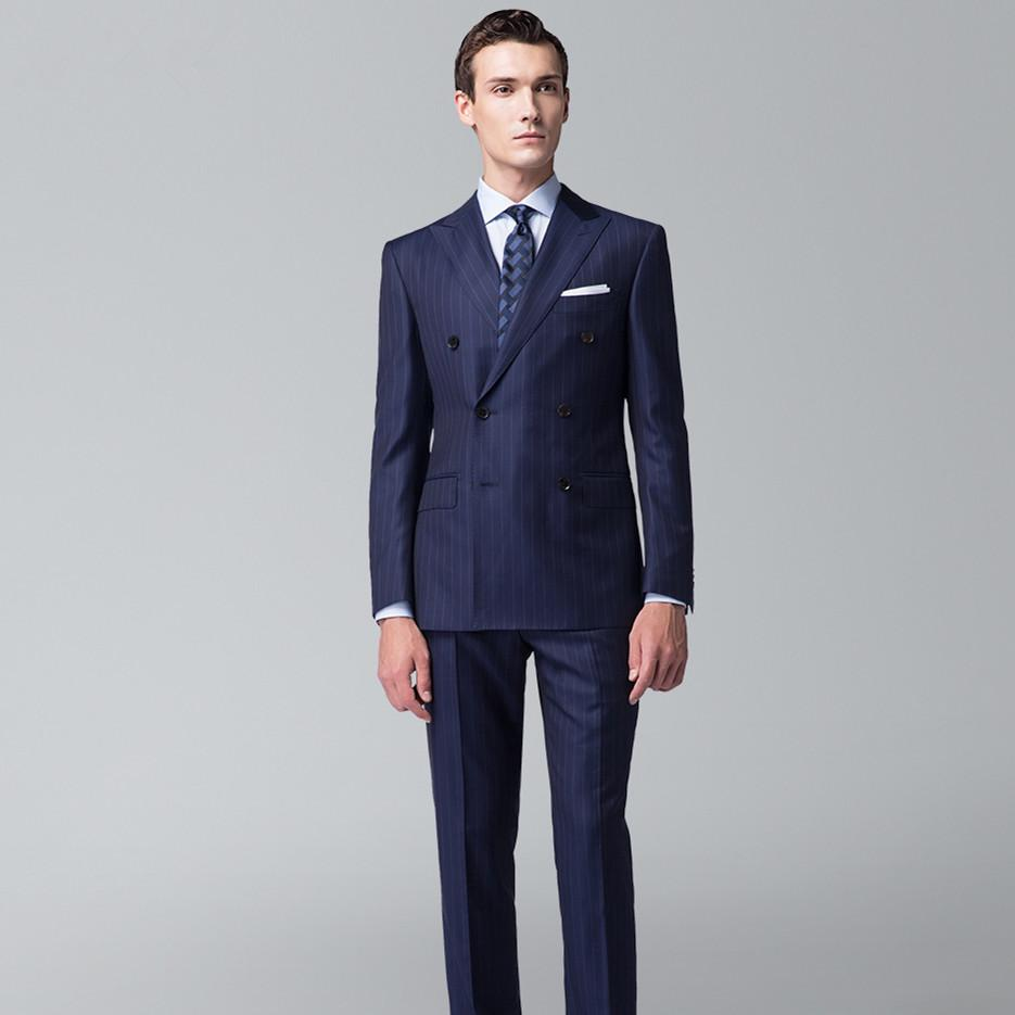 Navy White Pinstripe Suit Custom Made Wedding Suits For Men Tailor Made Double Breasted Tuxedos For Men bespoke Wool Tuxedo suit