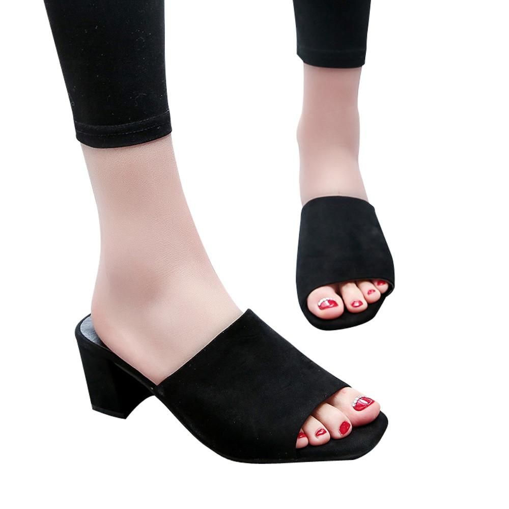 Women Fashion Flock Square Toe Wedges Women brand wedges Girls solid color  square toe increased shoes model show lazy shoe#g2
