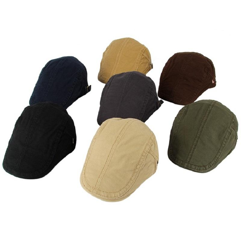 Solid Color Embroidery Line Cap Men's Casual Painter Hat Retro British Beret Outdoor Casual Packed Caps Middle Aged Adult