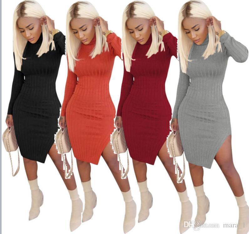 95a28341e6636 Satın Al Kadınlar Uzun Kollu Örme Elbise Kaplumbağa Boyun Diz Boyu Bodycon  Etekler Çizgili Bölünmüş Seksi Sıska Kalem Elbiseler Sonbahar K ..., $17.09  ...