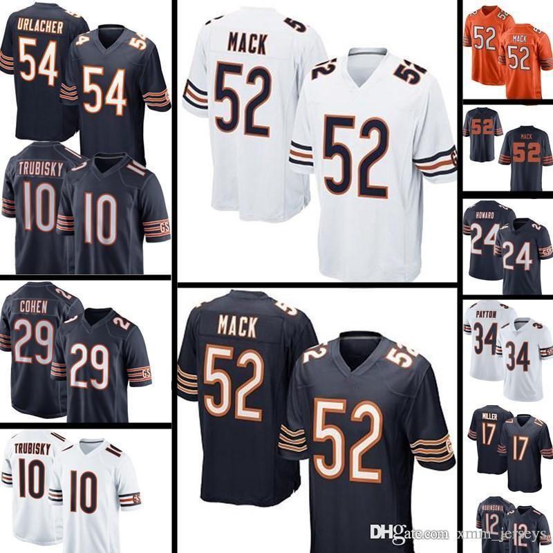 classic fit b58f2 25a2f Chicago Bears 52 khalil Mack jersey 10 Mitchell Trubisky 54 Brian Urlacher  34 Walter Payton 24 Howard 29 Tarik Cohen Football Jerseys