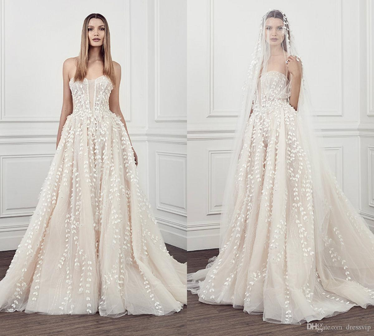 8af56eff93e Discount Pallas Couture Beach Wedding Dresses Sweetheart Lace Appliqued A  Line Sweep Train Boho Bridal Gowns Custom Made Plus Size Wedding Dress Best  ...