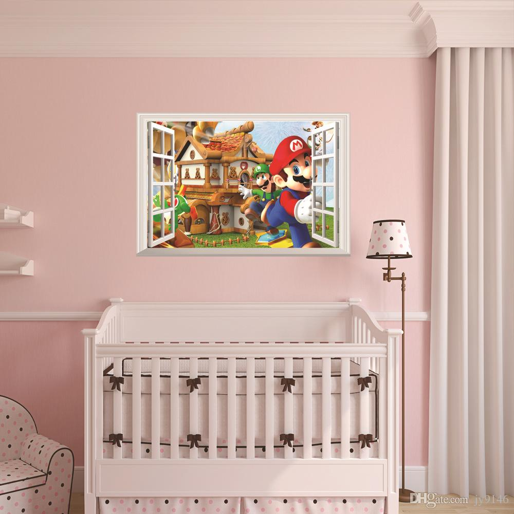 Großhandel 3D Fenster Wand Stricker Super Mario Wandtattoo Home ...