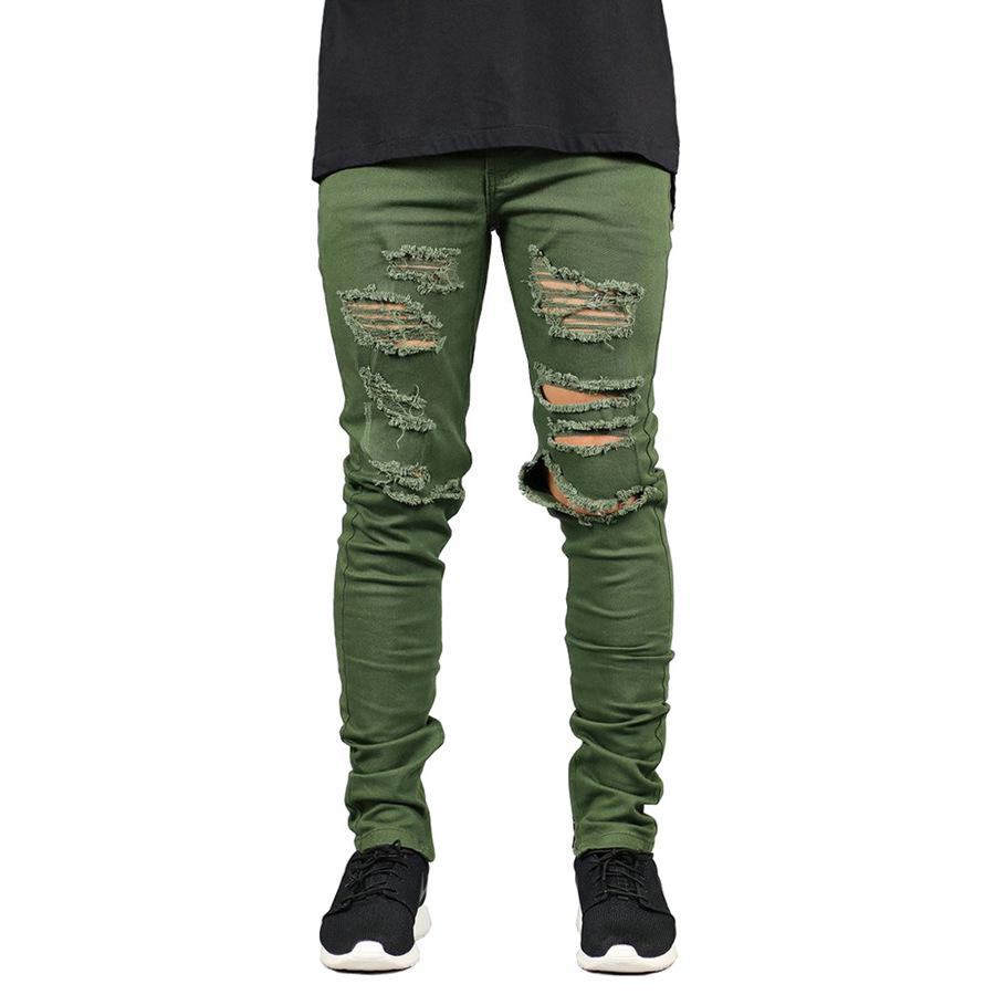 Mens Clothes Designer Hombres Jeans Holes Ripped Zipper Pencil Pants Kanye Street Hiphop Skateboard Jean Pants