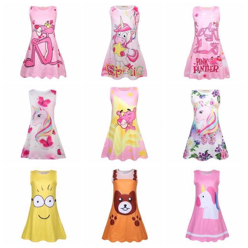 4470b718b8d0 Rainbow Unicorn Print Dress Baby Girls Pink Panther Children Sleeveless  Princess LOL Dresses Cartoon Summer Boutique Kids Clothes AAA1487 Gold  Summer ...