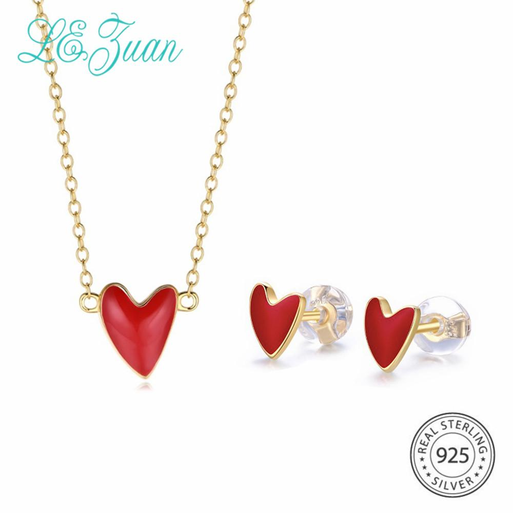 909090e6aeed Compre Lzuan Forma De Corazón Rojo 925 Conjunto De Joyas De Plata Esterlina  Para Mujeres Esmalte Craft Stud Pendientes Collar De Regalo De San Valentín  A ...