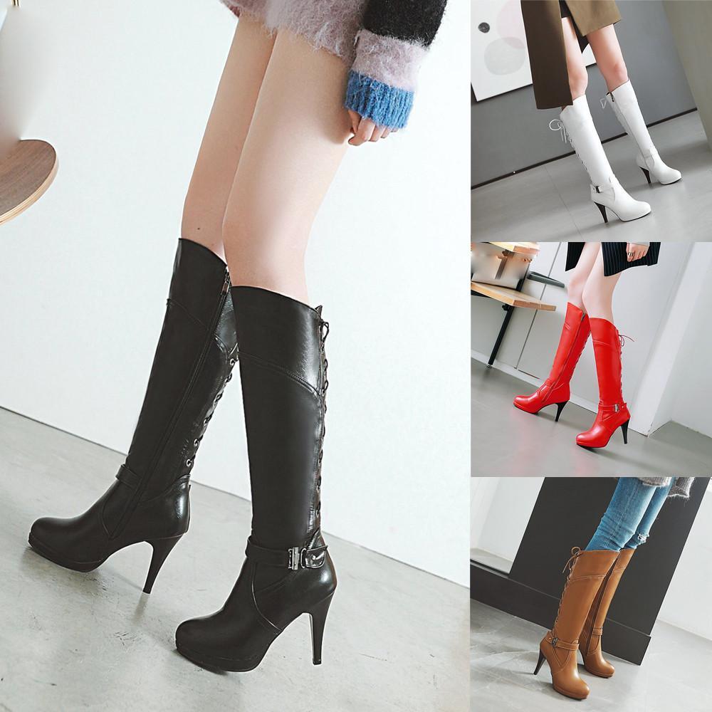 7bf76e70bf7 Compre MUQGEW Moda Retro Cinturón De La Mujer Hebilla Trasera Zapatos De  Corbata Punta Redonda Tacón Alto Botas De Mujer Botas Sexuales Con Color  Sólido ...