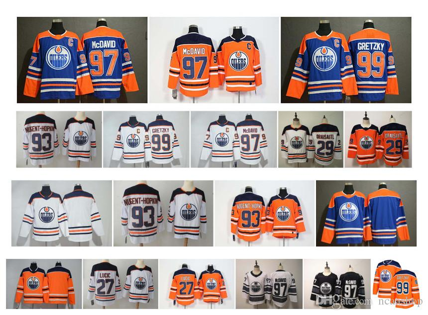 brand new 303a3 1c6d6 Edmonton Oilers Jersey 97 Connor McDavid 99 Wayne Gretzky 29 Leon Draisaitl  27 Milan Lucic 93 Ryan Nugent-Hopkins Stitched Hockey Jersey