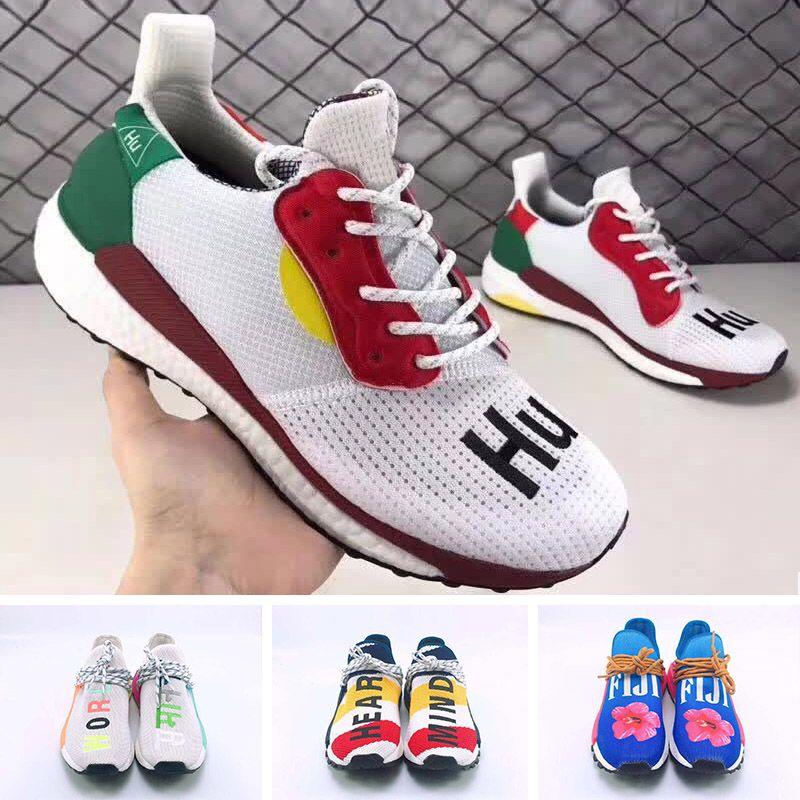 sale retailer 6f3c1 f795c 2019 BBC Human Race Pharrell Williams SOLARHU Running Shoes Black White  Yellow SOLAR HU PW Mens Women Sports Sneakers 36-45 HOT SALE