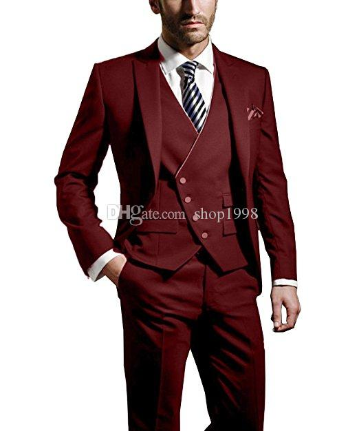 Custom Made Groom Tuxedos Dark Red Groomsmen Peak Lapel Best Man Suit Wedding/Men Suits Bridegroom Blazer (Jacket+Pants+Tie+Vest) A6