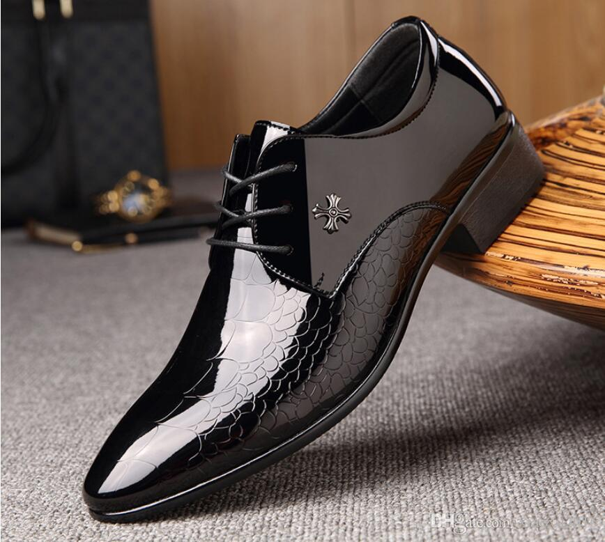 Plus Size Italy designer Men's Business leather shoes formal Mens wedding party shoes Men dress shoes DM78
