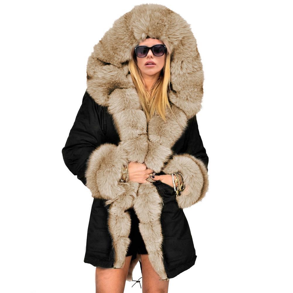 أزياء المرأة رشاقته شتاء دافئ طبقة دثار فاخر فو الفراء هود سترة المعطف الأعلى طويل أبلى
