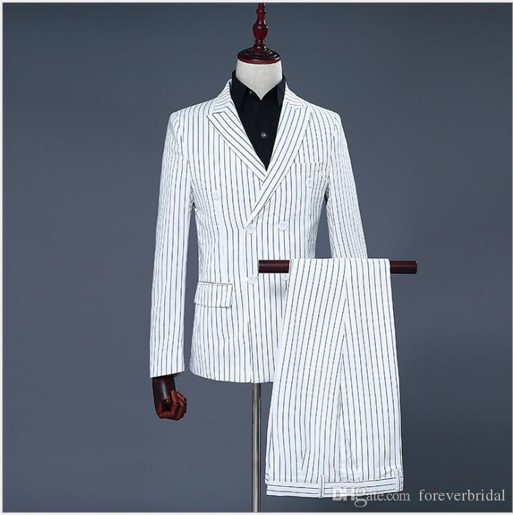 Elegant Design Double Breasted White Vertical Stripe Men Suits With Peaked Lapel Wedding Bridegroom Clothing Set Office Formal Tuxedos