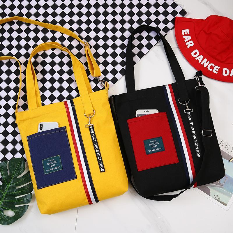 Fashion Letter Women Messenger Handbags 2019 New Hot Zipper Soft School  Students Book Bag Canvas Bags Shoulder Bags Leather Tote Leather Tote Bags  From ... a00d81f22d64f
