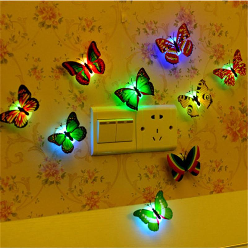 LED Night Light 3W LED Butterfly Dragonfly Stick-On Lamp Wall Light Colorful Fiber Optic Night Lights For Christmas Decoration Wall Lights