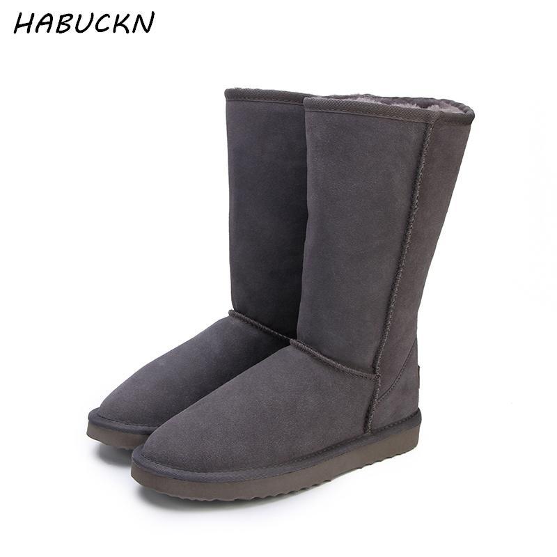 87e3fcc5e Compre HABUCKN Alta Botas De Neve Para As Mulheres Sapatos De Inverno Pele  De Carneiro Pele De Couro Forrado Big Girls Alta Lã Coxa Botas De Inverno  Preto ...