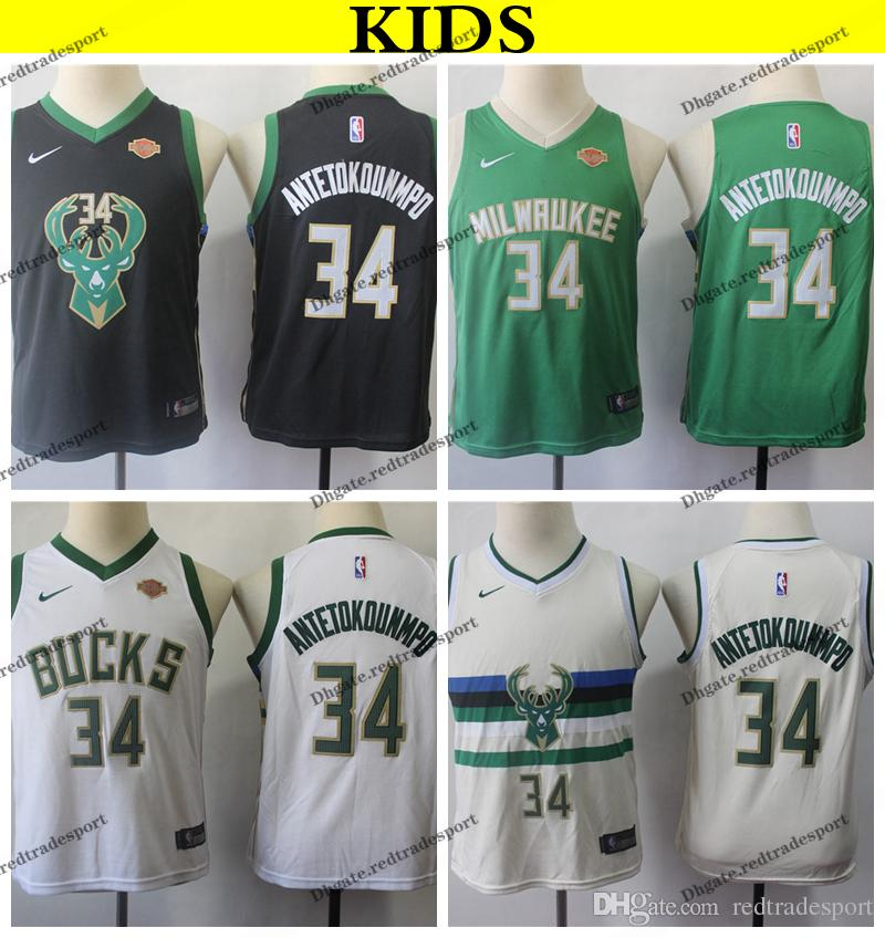 sports shoes 1f1b3 54a99 2019 Kids Milwaukee #34 Bucks Giannis Antetokounmpo Basketball Jerseys  Youth Giannis Antetokounmpo Green Black White Stitched Shirts S-XL