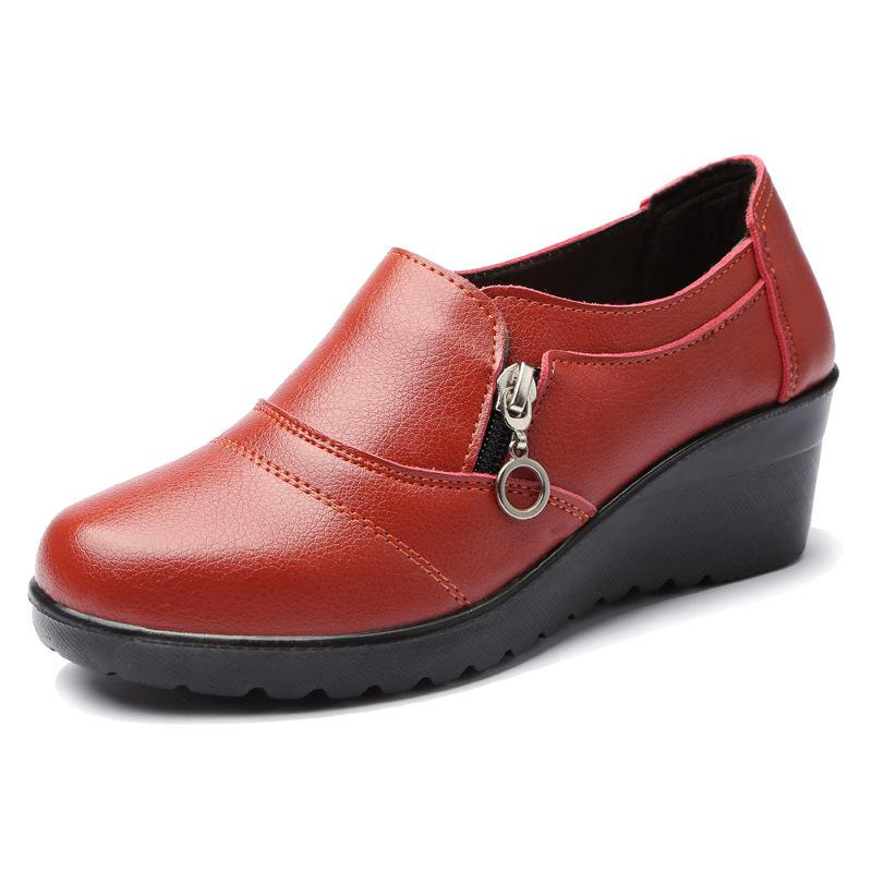 1Masorini Women Shoes 2019 Zapatos de cuero genuino para madre Zapatos planos Wine Red Zipper Slip On Women Zapatos planos Mocasines Plus Size X-133