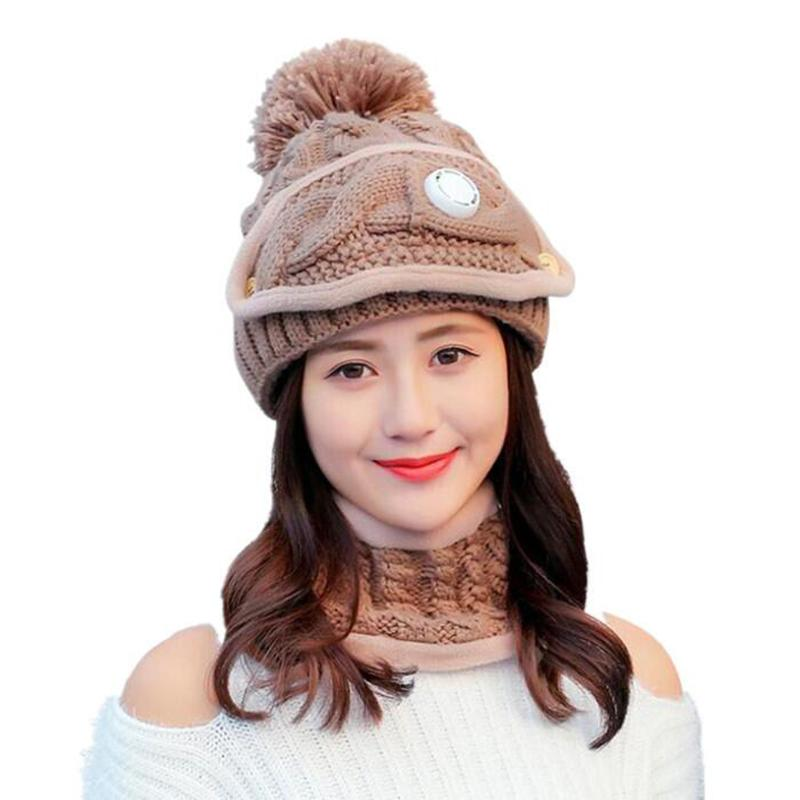 84eb2245d77 SUOGRY Winter Women Scarf Hat Set Knit Wool Skullies Beanies Real ...