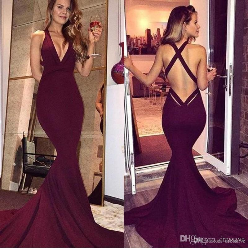 0bf1469a9cbe2 Simple Burgundy Prom Dresses 2019 Sexy Mermaid Backless Sleeveless Sweep  Train Long Party Dresses Evening Gowns Formal Wear