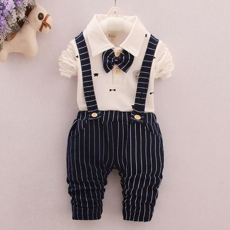 wholesale Baby Boys 2Pcs Outfit Clothes Sets Children Long Sleeve Shirt Top+Overall Pants Costume Kids Baby Clothing Set for
