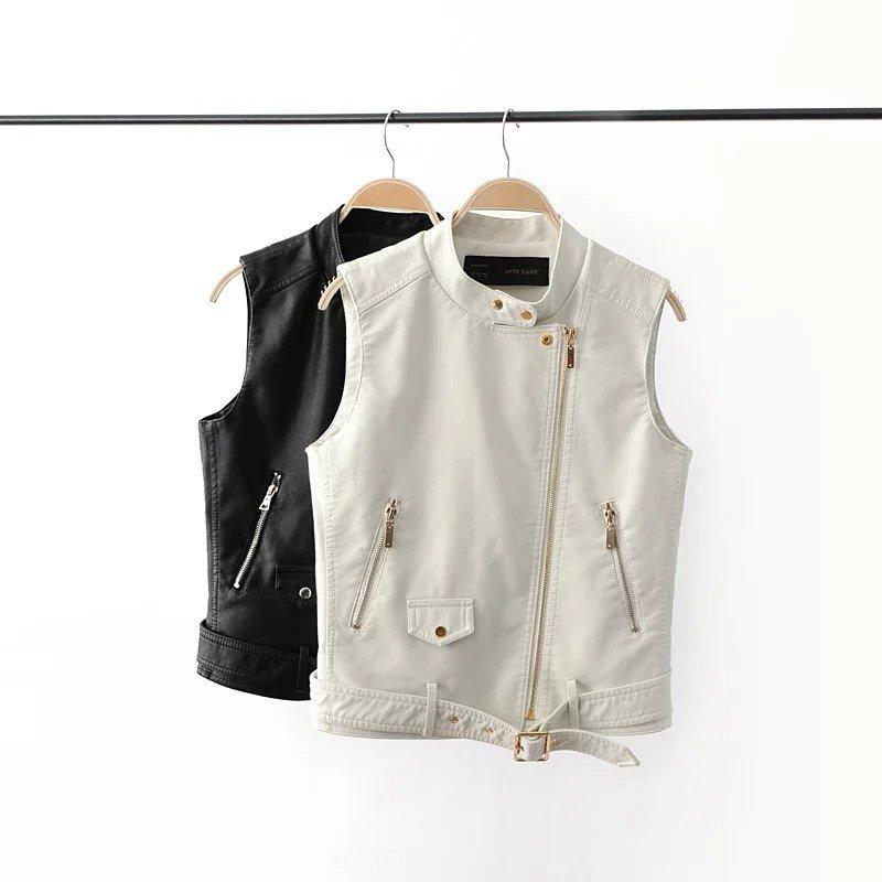 Basic Women Sleeveless PU Leather Jacket Coat Punk Rock White Black Short Vest Belted Waist Zipper Front