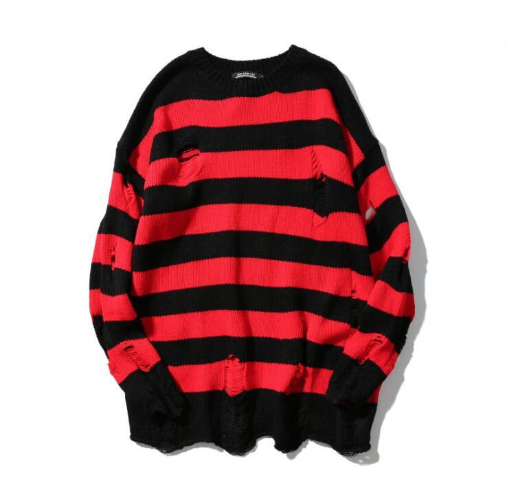 Schwarze und rote Streifen Loch gestrickte High Street lose Pullover Pullover Herren übergroße Pullover